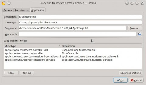 MuseScore AppImage shortcut launcher information - after using console terminal AppImage install command