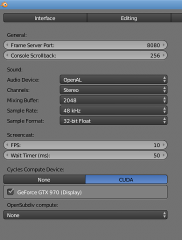 Blender 2.79a preferences showing Cycles renderer set to use Nvidia GPU.