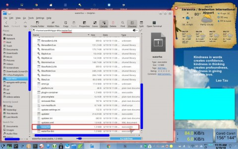 File Manager showing waterfox executable program file