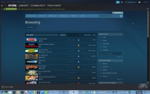 Steam for Linux<br />- example: Free to play pinball games