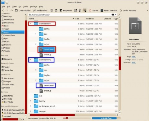 My File Manager showing TeamViewer 11 & 13 from their Linux archive files.