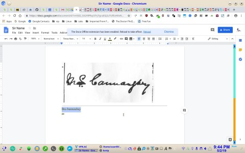 Surname using Google Docs OCR