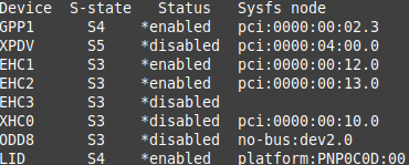 "2.Then run ""cat /proc/acpi/wakeup"" and look for the Sysf node 10.0 which was XHC0"
